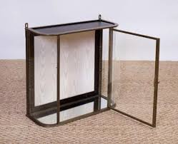 antique 19th century brass and curved glass hanging wall display cabinet vitrine or shadow box