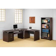 contemporary dark wood office desk. How To Choose Affordable Home Office Desks : Modern L Shaped Desk For Contemporary Dark Wood W