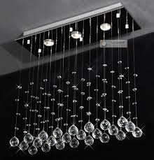 3 lights l24 x w8 x h23 6 clear rectangle crystal chandelier pendant lamp rain drop design flush mount led ceiling lighting moderm crystal lamp moderm