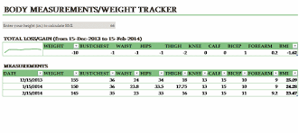 Body Measurement Weight Tracking Template Printable