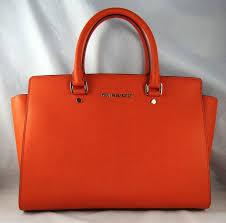michael michael kors michl michl kors selma large orange leather satchel bag