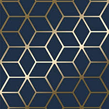 Blue And Gold Design Metro Diamond Geometric Wallpaper Navy Blue And Gold