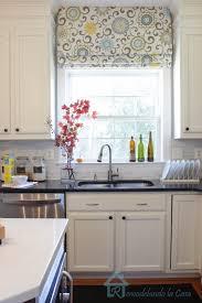 diy window treatments plus diy colorful roman shades in kitchen ideas plus white cabinet design