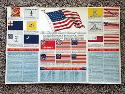 Vintage Usa American Flag Chart By Gm Super Service Copyright 1958 Rare Ebay