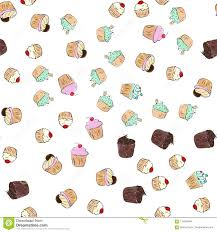 Cupcakes Pattern Illustration Seamless Print With Pastry Set