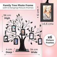 family tree photo frame with 6 hanging picture frames by thetford design