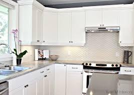 maple cabinets painted cloud white gray paint colour quartz hexagon subway tile cream