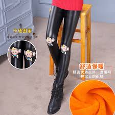 children new 2017 autumn winters leather pants girls wool trousers girls leggings hot style childrens clothing