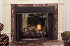 ventfree see thru fireplace with multi side log set