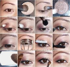 asian eyes tips tutorials neutral shimmery look apply a shimmery pale peach like mac honey eyeshadow on inner coppering smokey