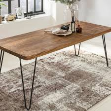 Massiver Esstisch Harlem Sheesham Massiv Holz Esszimmertisch Massivholz Mit Design Metall Beinen Holztisch Tisch Esszimmer Küchentisch