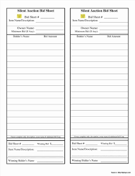 auction bid sheet template free silent auction sheet template stanley tretick
