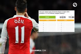 Persle number 11 arsenal jersey shirt fly emirates m/l. Squawka Football On Twitter 2 Quiz Can You Name Every Arsenal Player To Wear Shirts 1 11 In Premier League History Https T Co O8kcjtu2tb