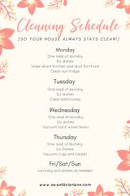 Simple Cleaning Schedule Whether You Have A Full Time Job