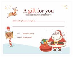Holiday Gift Card Template Printable Holiday Gift Certificate Templates Free Gift Certificate