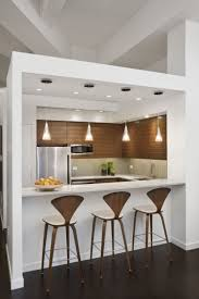 Engaging Image Of Kitchen Decoration With Small Wooden Kitchen Bar : Cool  Small White Modern Kitchen