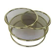 smoky glass circular coffee table with
