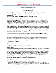 Tmhs Pac Meeting Minutes For February 2016 Memorial High