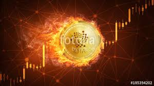 Golden Iota Coin In Fire With Bull Trading Stock Chart Iota