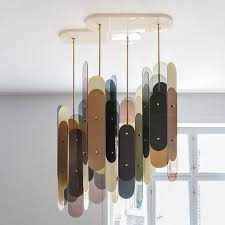 the stafa chandelier is constructed of four stafa lights gathered in a plexiglass ceiling plate