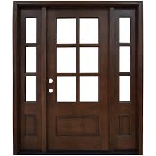 savannah 6 lite stained mahogany wood prehung front door with sidelites