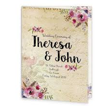 Wedding Ceremony Program Cover Antique Floral Mass Booklet Cover Loving Invitations