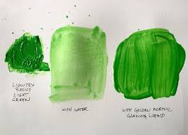 acrylic paint thinned with water in one sample and golden acrylic glazing liquid in another sample