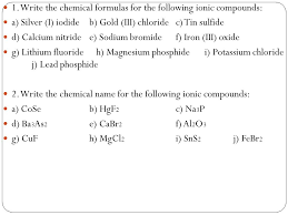 15 1 write the chemical formulas
