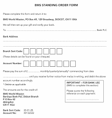 Standing Order Form Bms World Mission