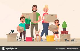 New Home Cartoon Images Happy Family Moving New Home Buying New House Apartment