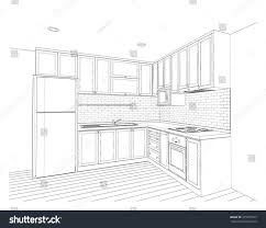 Interior design sketches kitchen Perspective Kitchen Interior Design Of Country Style Kitchen 3d Outline Sketch Perspective Shutterstock Interior Design Country Style Kitchen Stock Illustration