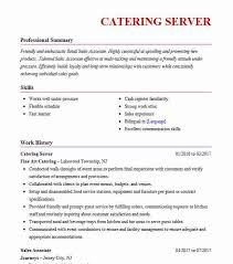 Catering Server Resume Sample Server Resumes LiveCareer Unique Catering Resume