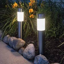 2x large 40cm solar bollard post lights garden driveway outdoor led lighting new