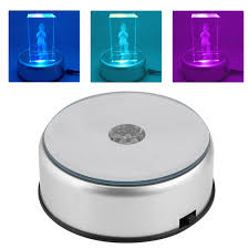 Crystal Light Electric Motor Details About 7led Round Unique Rotating 3d Crystal Colorful Light Base Electric Display Stand
