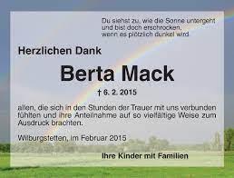 Traueranzeigen von Berta Mack | trauer.flz.de