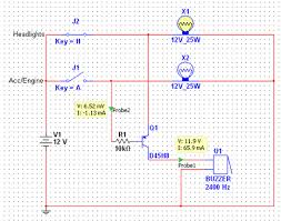 memoirs of fls zen headlight alarm circuit as you can see in the diagram the headlights are on and the accessories are off there is a little less than battery voltage flowing through the buzzer and