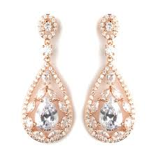 glitter teardrop cz crystal chandelier earrings clear on rose gold