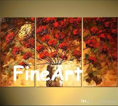 hand painted group painting texture flowers landscape tree acrylic paintings on canvas art bedroom living