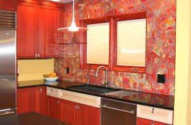 orange glass tile backsplash kitchen cracked effect red accent glass shiny  cracked effect red accent glass