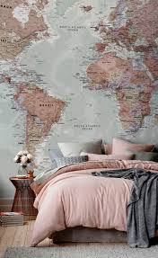 home decorating ideas vintage a world map on the whole wall gray bedding bedroom gray