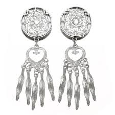 Dream Catcher Tunnels Pair CHIC Retro Dream Catcher Feathers Dangle Ear Plugs Flesh 66
