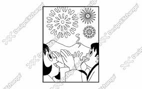 花火大会 クリップアート年賀状戌年の年賀状イラストデザイン素材