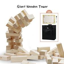 lavievert giant toppling timbers wooden blocks game stacking blocks stacking tower for a fun outdoor lawn yard game 54 pieces stacks up to 5 feet