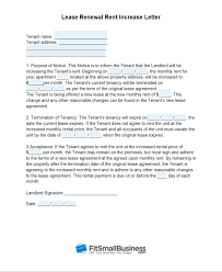 tenant renewal letter sample rent increase letter free templates
