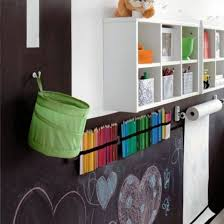 kids room decor with unique chalkboard decoration and pretty wall mounted shelves design for saving toys