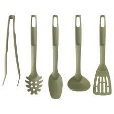 speciell piece kitchen utensil set dark green  ikea