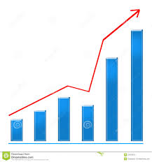 Growing Blue Bar Chart And Rising Arrow Stock Illustration