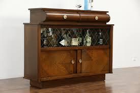 art deco oak vintage scandinavian sideboard bar cabinet etched glass doors