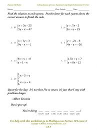 solving equations worksheets ls 3 solving systems of equations using simple substitution part worksheets 7th