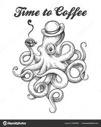 Chobotnice Buřince Brýlí šálkem Kávy Chapadlo Styl Tetování